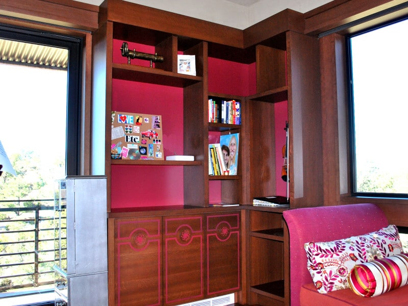 Built-in cabinetry for teenage girl's room