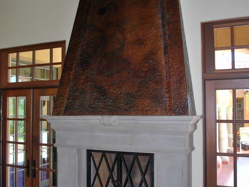 Hammered copper fireplace hood