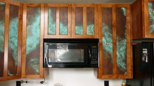 Copper Kitchen Cabinet Door Inserts - CK Valenti Designs, Inc.