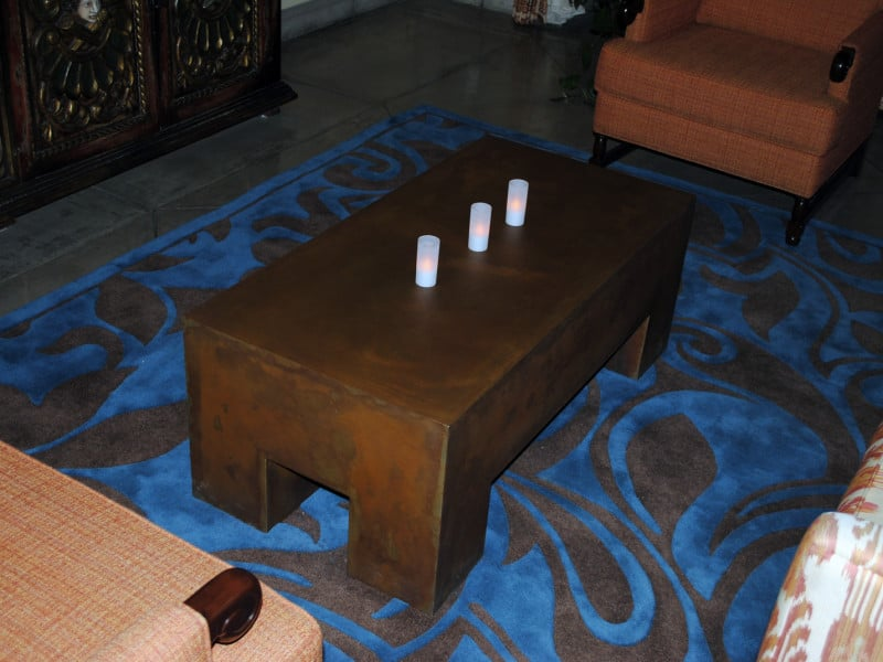 Sculpted steel coffee table