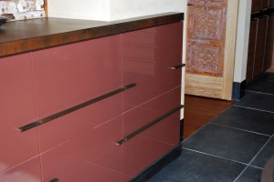 Buffet with custom steel drawer pulls