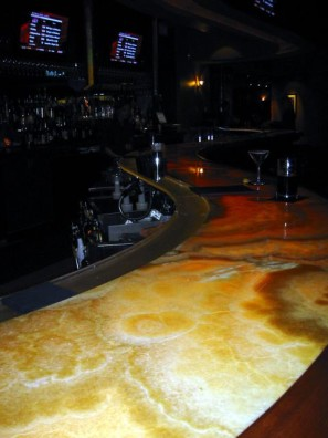 We Worked With The Bar Builder To Design A Cavity In The Bar Cabinet To Fit  Strips Of LEDs In Order To Underlight The Impressive Onyx Stone Bar Top.