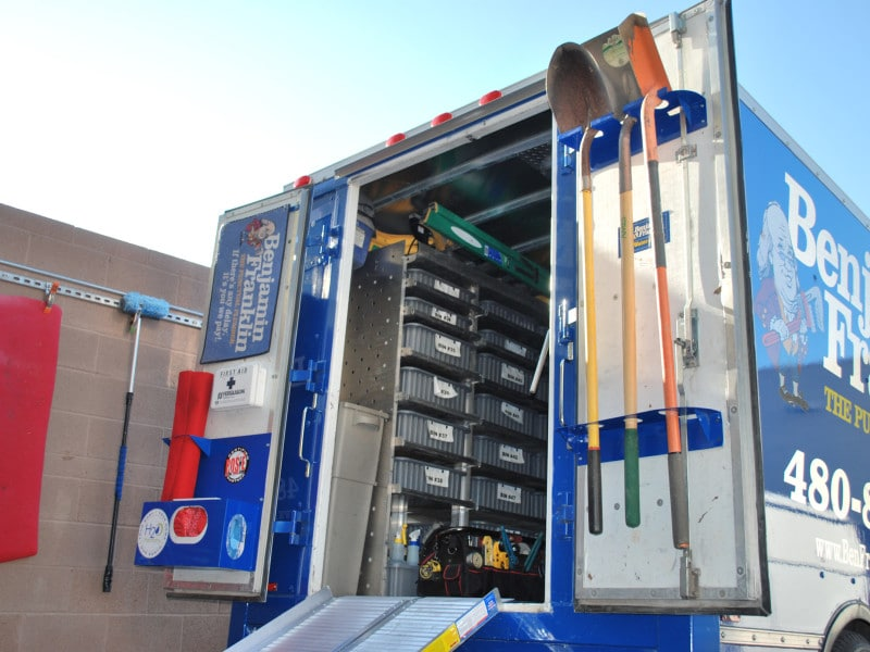 Service truck - Steel racks and holders